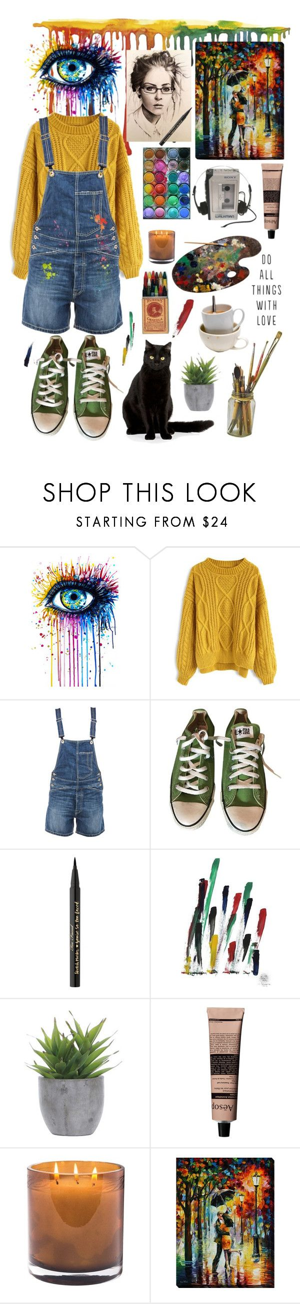 """Artist"" by nika105 ❤ liked on Polyvore featuring Chicwish, Dondup, Converse, Too Faced Cosmetics, NOVICA, Lux-Art Silks, Aesop, Laura Mercier, artist and artgirl"