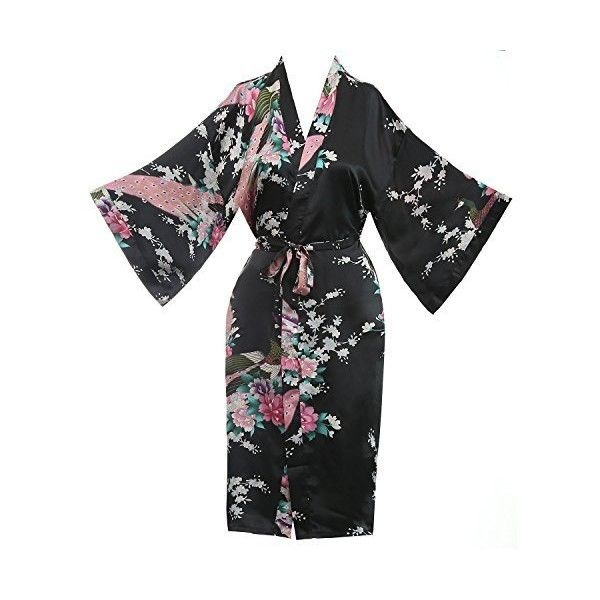 Asian Peacock Kimono Women's Satin Silk Robe One Size Violet Red ❤ liked on Polyvore featuring intimates, robes, red silk robe, satin kimono robe, red bath robe, satin dressing gown and kimono robe