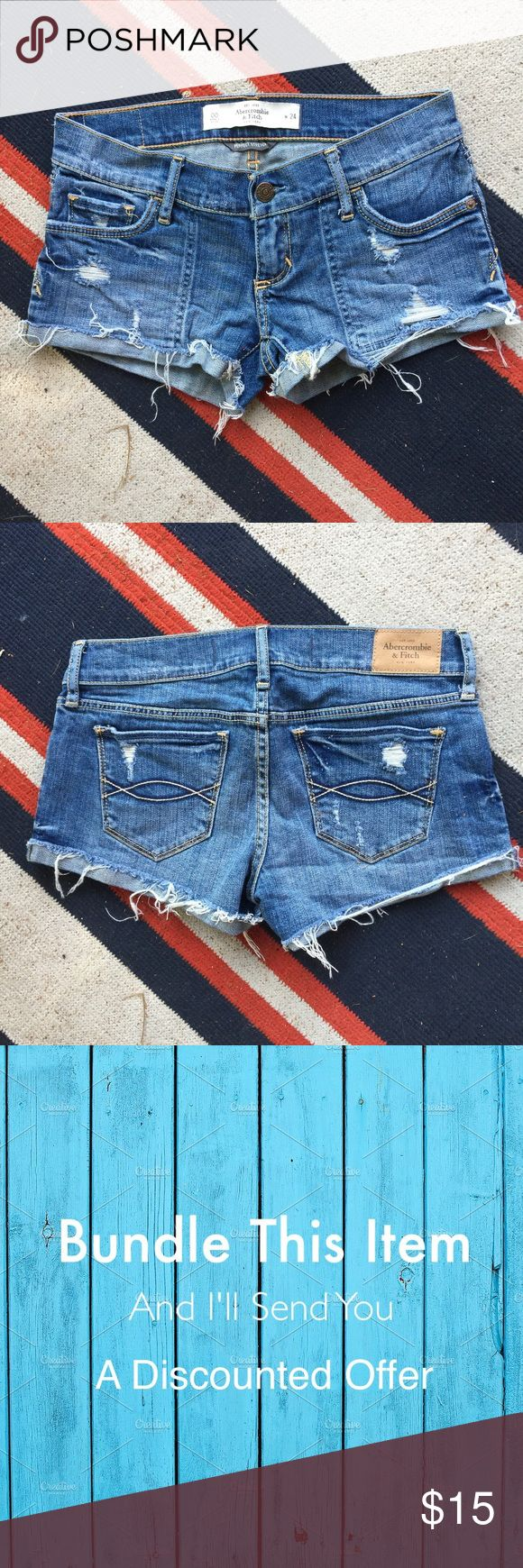 "Abercrombie and Fitch Denim Cutoffs Length 8"", rise 3"", waist 24"" Abercrombie & Fitch Shorts Jean Shorts"
