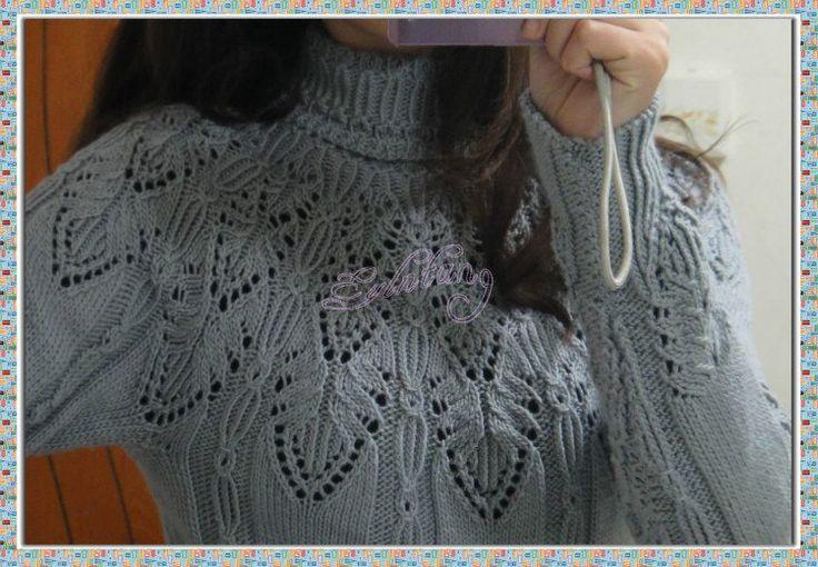 Мобильный LiveInternet Голубой свитер с ажурной кокеткой | Gania - Дневник Gania |
