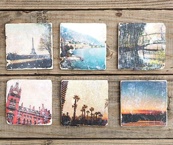 """Easy to do with square photos, tiles, and Mod Podge. Send photos to laser printer for best results. Size same as tikes, 4"""" square."""