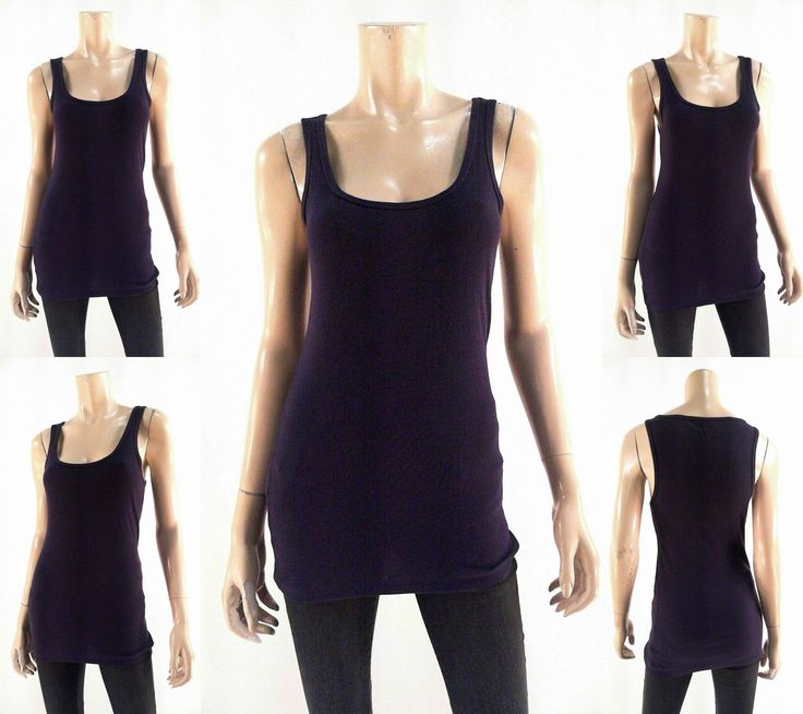 Route 66 Womens Size L Cami Tank Top Pull Over Scoop Neck Ribbed Purple Tee
