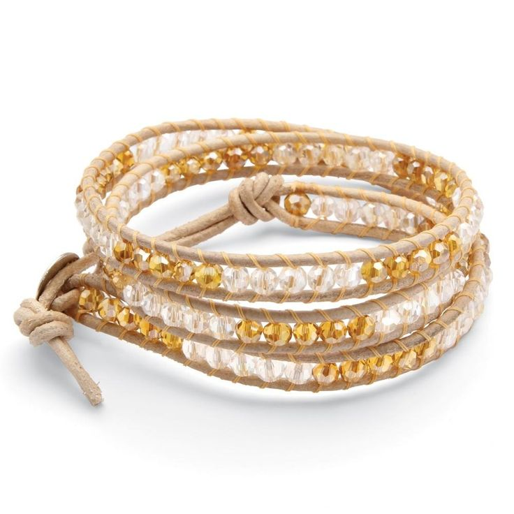Rated by 25,000+ Customers. Round Clear and Champagne-Color Crystal Tan Leather Wrap Bracelet 20'' More Details