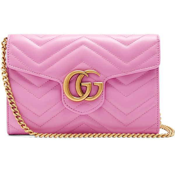 Gucci GG Marmont quilted-leather cross-body bag ($1,300) ❤ liked on Polyvore featuring bags, handbags, shoulder bags, pink, cross-body handbag, crossbody shoulder bag, pink handbags, quilted leather shoulder bag and chevron purse