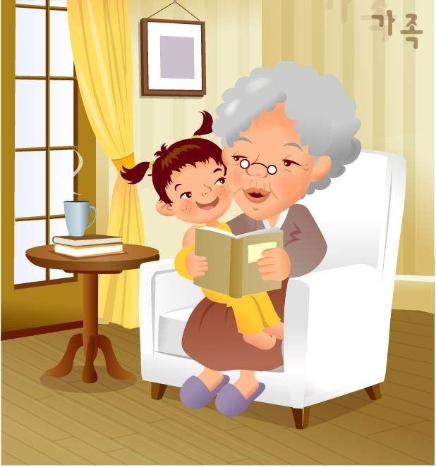 Бабушка и внук картинки для детей нарисованные