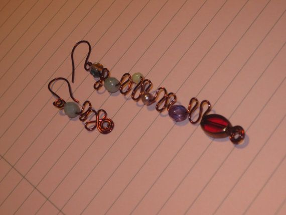 Asymmetrical Dark Copper Wire Long and Short Earrings