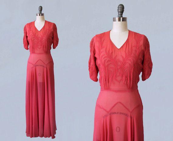 années 1930 30 s robe / fin début 40 ans Rose par GuermantesVintage