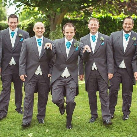 I like the white under the gray with teal tie.  Maybe all the groomsmen or just the groom