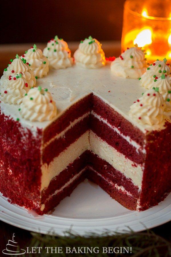 Red Velvet Käsekuchen - dicke Schicht Käsekuchen, zwischen zwei feuchten Schichten des Schokoladenkuchens eingelegt, dann wird der ganze Kuchen ist mit reichen Vanillefrischkäse Frosting bereift.  Durch Beginnen wir die Backen!  @Letthebakingbg