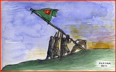 In 1971, Bangladesh 'muktijuddhas' (freedom fighters raising a flag of Bangladesh