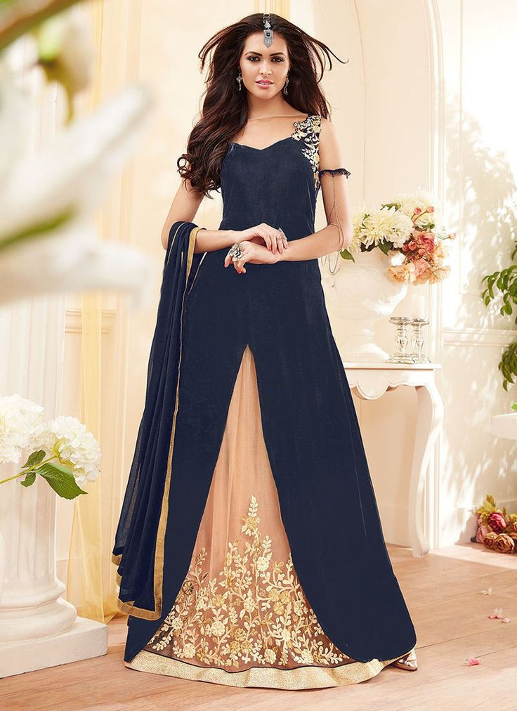 Buy Navy Blue A Line Long Choli Lehenga online from the wide collection of a-line-lehenga.  This Blue colored a-line-lehenga in Net | Faux Georgette fabric goes well with any occasion. Shop online Designer a-line-lehenga from cbazaar at the lowest price.