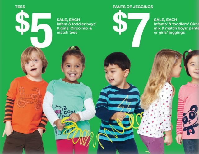 This image is designed for parents. It uses the image of children who enjoy their time playing around which whould make parents believe that the clothes are comfortable for the kids to wear. Also the cheap price in being zoomed so that the parents can easily see them and make the judge. The background color is green which represent the clean and environmental feelings.