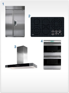 A sleek, pro kitchen package with customizable A dream Sub-Zero and Wolf kitchen with a built-in Sub-Zero refrigerator/freezer with custom panels, plus a double oven, electric cooktop and low-profile wall hood from Wolf.