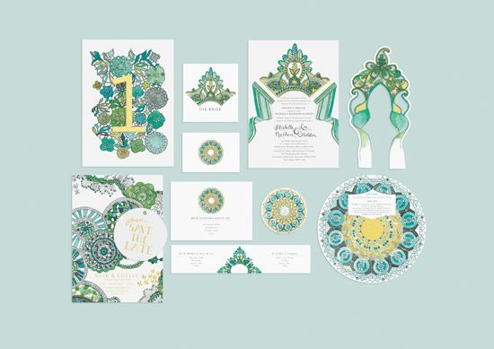 Illustrated Wedding Invitation Suites By Kathryn Green