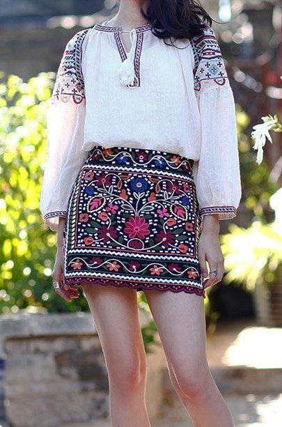 A Stylish Boho Embroidery Mini Skirt Gypsy at pasaboho.com