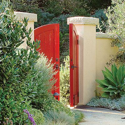 red!: Red Doors, Red Gates, Red Gardens, Doors Design, Spanish Courtyards, Gardens Gates, Gardens Doors, Colors Doors, Colors Gates