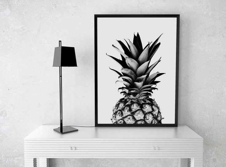 Pineapple Print Fruit Pineapple Poster Wall Art Black and