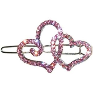 "Swarovski Crystal Double Heart Barrette 1 1/8 X 1 5/8"" In Pink with Silver Finish $8.99"