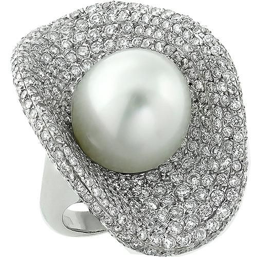 South Sea Pearl 5.00ct Diamond Gold Cocktail Ring 1