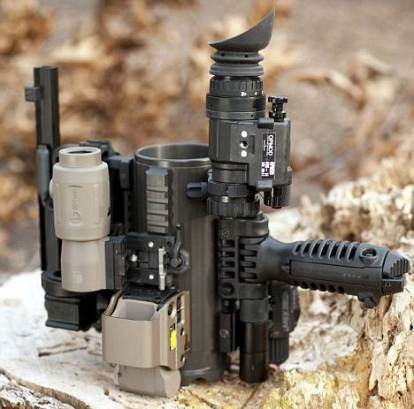 Battle Mug features mil-spec 1913 scope rails, and a whole set of accessories which you can attach to it. Users can attach a night vision unit, different laser dots, a bottle opener, carry handles with night sights, a bipod for standing it up on, and a removable AR15 carry handle. So besides holding your favorite drink to keep you hydrated in combat, the Battle Mug will ensure you won't be caught unprepared on the battlefield. Each mug is custom-engraved with its own unique serial number.