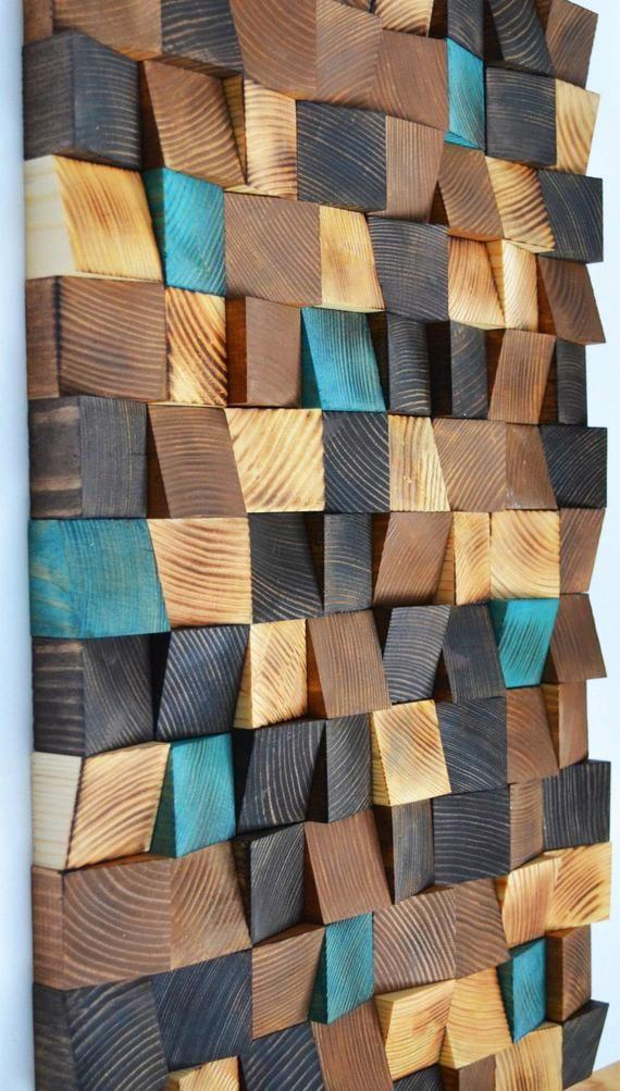Art mural, Art de bois de récupération, de bois de mosaïque art bois, art mural géométrique, art bois rustique, art en bois, panneau de bois