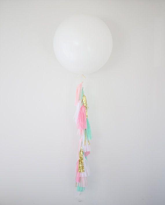 36 inch Giant Balloon Pink Tassel Garland - Pink Party Decoration, Balloon Garland, Pink Tassel Garland, Photo Shoot Prop, and Wedding Decor