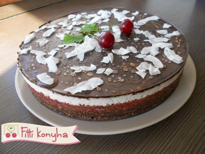 Meggyes-kókuszos-csokis torta (paleo, sütés nélkül) - http://www.mytaste.hu/r/meggyes-k%C3%B3kuszos-csokis-torta-paleo--s%C3%BCt%C3%A9s-n%C3%A9lk%C3%BCl-32792044.html