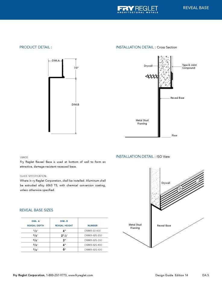@Adam Breen / Details for the baseboard and reveal: Drywall Reglets  brochure which are