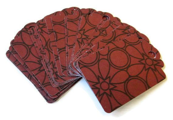 Gift Tag Set of 28 Dark Red Black Floral Print by PreciousBowtique, $2.50