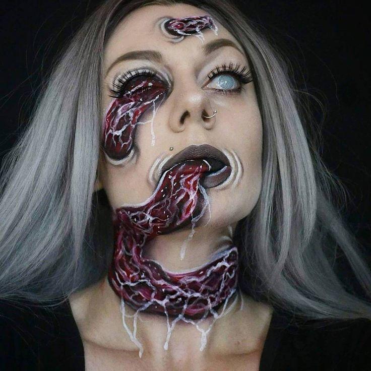 optische täuschung make up halloween fasching zombie gruselig kontaktlinsen #halloween #fasching #makeup
