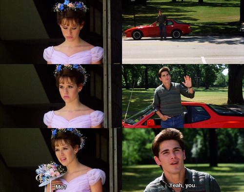 MY FAVORITE SCENE from 16 Candles.  Every girl's dream!! ;)