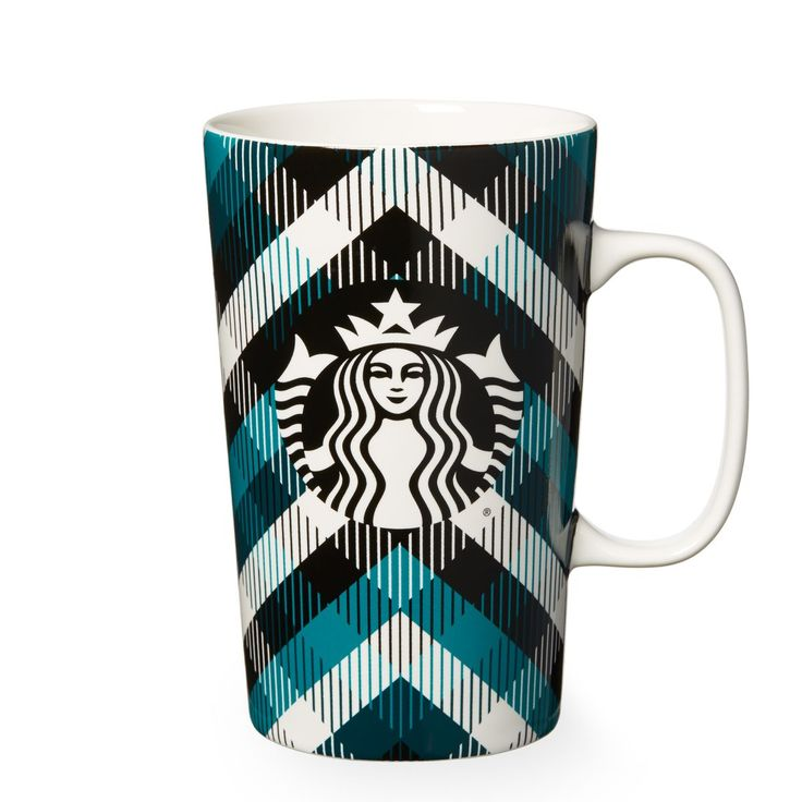 A ceramic coffee mug with a classic plaid pattern design, part of the Dot Collection.