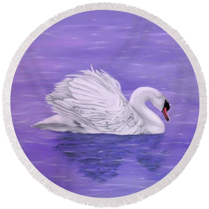 Round Beach Towel,  purple,lavender,accessories,cool,trendy,fancy,beautiful,unique,awesome,modern,artistic,fashionable,unusual,for,sale,design,items,products,ideas,swan,lake,nature,white,bird