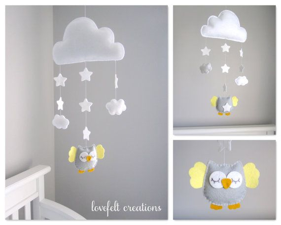 Baby Crib mobile - Owl baby mobile - Baby Mobile Owl - Owl Nursery - Cloud Mobile on Etsy, $80.00