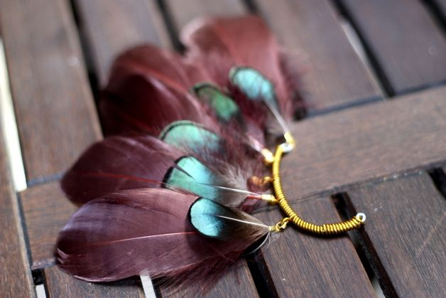 ear cuff wine red and turquoise