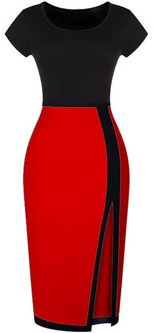 Split Slim Black and Red Dress - $12?! // work outfit classy classic short sleeve color block one piece tee skirt stripe slit party