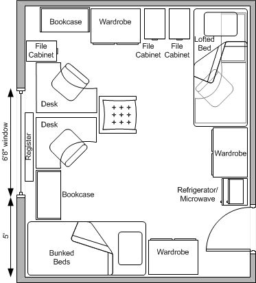 Ohio State University Baker Hall West Dorm Room Pictures | Typical Floor  Plan