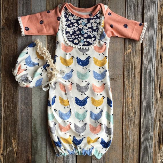 Vintage style organic baby girl gown infant by Rufflesnbuttons