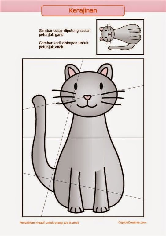 kerajinan gunting tempel PAUD (balita/TK) : buat sendiri puzzle kucing