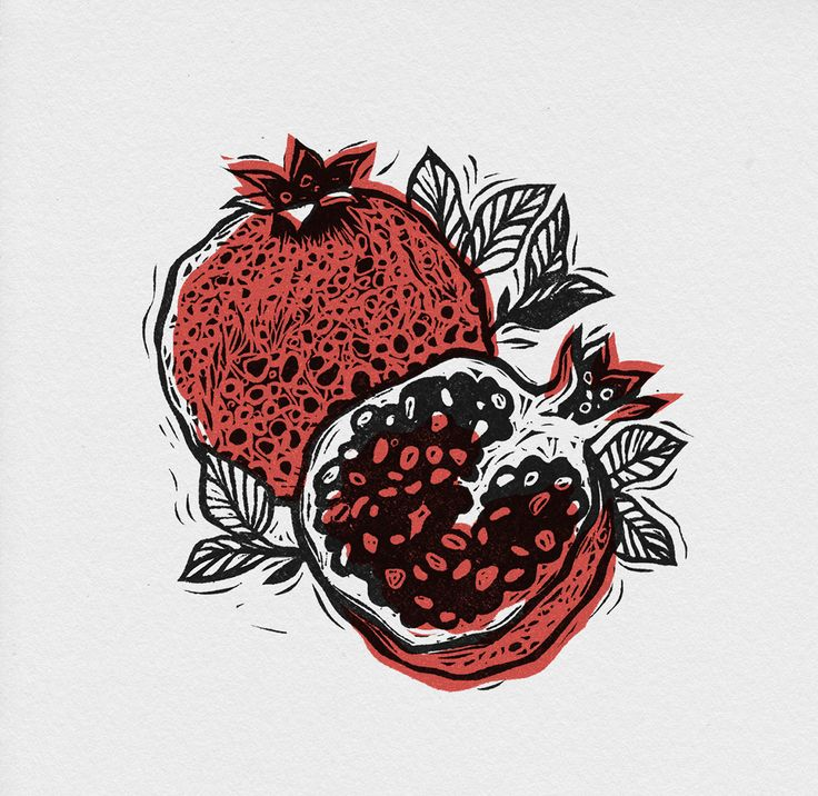 Pomegranate on Behance. A perfect example of why imperfect registration is sometimes a good thing. Artist Alesya Nesolenova.