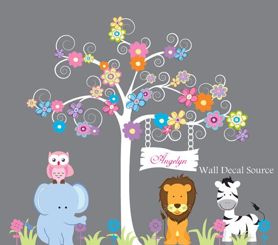 Nursery Wall Decal With Owls Birds Lion by WallDecalSource on Etsy, $129.00