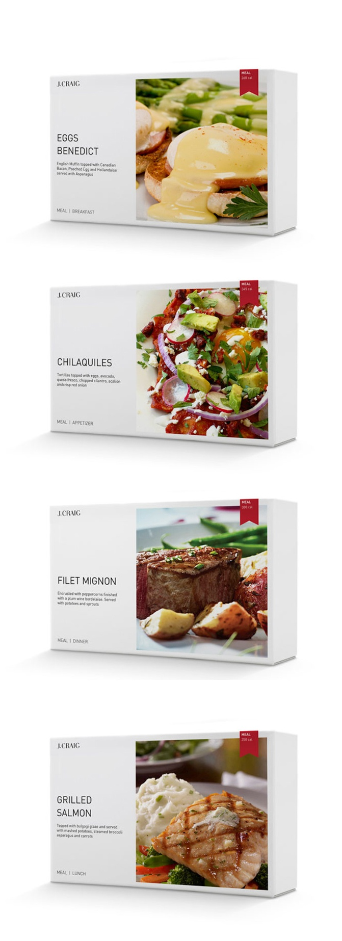Beautiful, vivd packaging and photography. J.Craig meals range. #paperboard #box