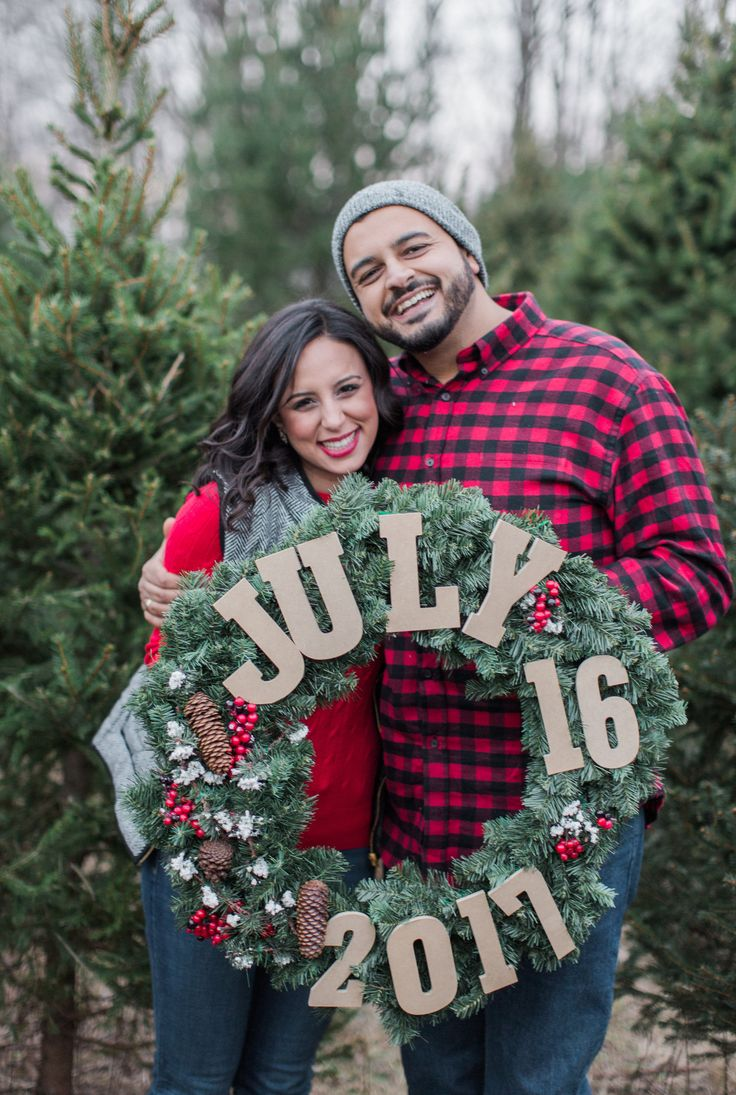 save the date Christmas wreath