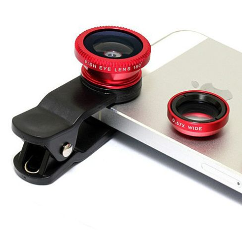Clip & Snap a set of 3 clear image lens for your Smart Phone 1. Wide Angle Lens, 2. Macro closeup lens & 3. Fish Eye pop out lens. Each lens will screw on the Clip as needed that attaches to your phone quickly. It will also work with phones/ tablets that have camera in the middle on the top. You do not need to remove your case to use this lens. Comes with lens cap and storage pouch. Available in 6 colors Silver , Black ,Red , Purple , Blue and Golden.