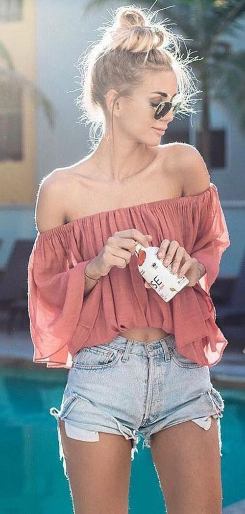 5905017d4e98 Summer Girl Wearing Off The Shoulder Top With Denim Shorts