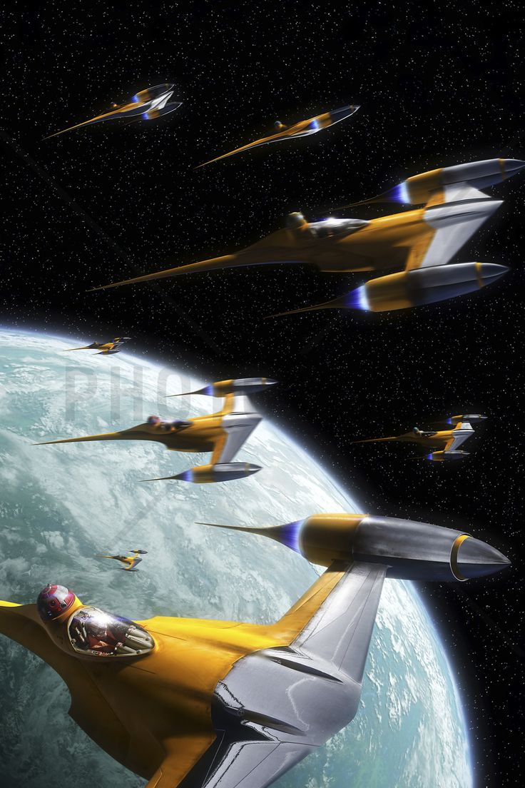 Star Wars - Naboo Starfighters 2 - Wall Mural & Photo Wallpaper - Photowall