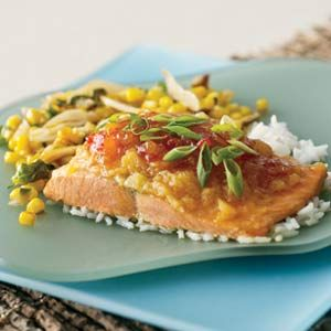 Sweet Chile Pineapple Fish With Asian Corn Stir-Fry