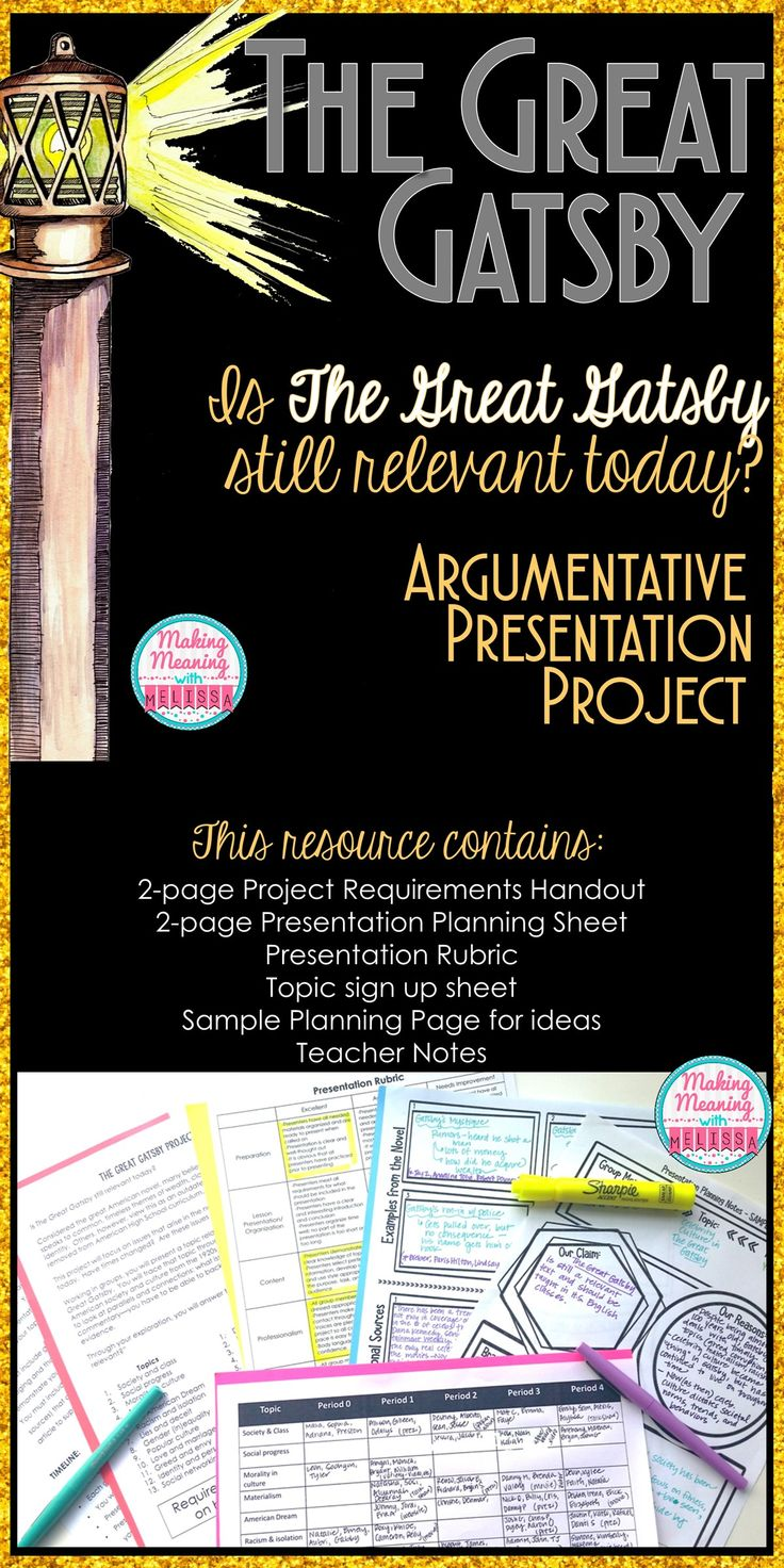 "Do your students think Gatsby is outdated? Let them prove it while Arguing the question ""Is The Great Gatsby relevant today?"" Project, rubric, organizers, samples, and more included."