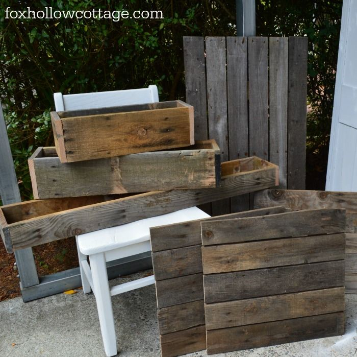 Rustic Farm Trough Home Decor Boxes - Pallet Art Bases - Reclaimed Wood Lumber - #upcycle #repurpose Fox Hollow Cottage