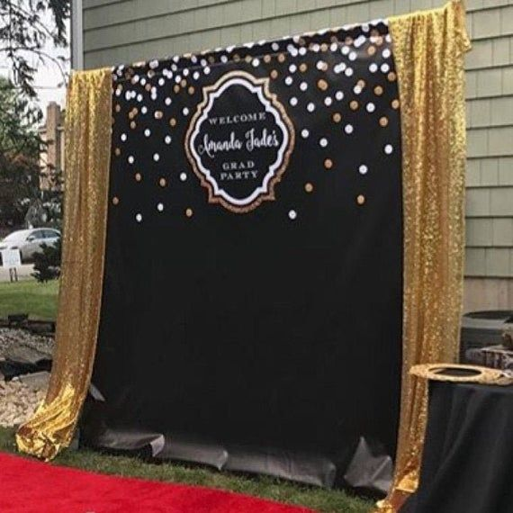 Black And Gold Backdrop Adults Party Banner Poster Image 4 Graduation Decorations Birthday Backdrop Graduation Party